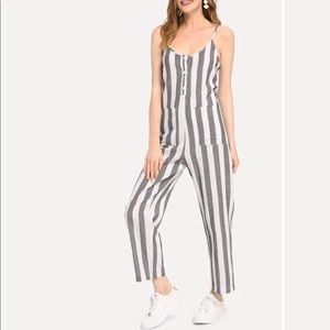 Striped Jump Suit With Pockets
